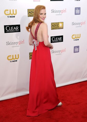 Jessica Chastain dazzles in a red Prada gown at the 18th Annual Critics' Choice Awards in Santa Monica on January 10, 2013.