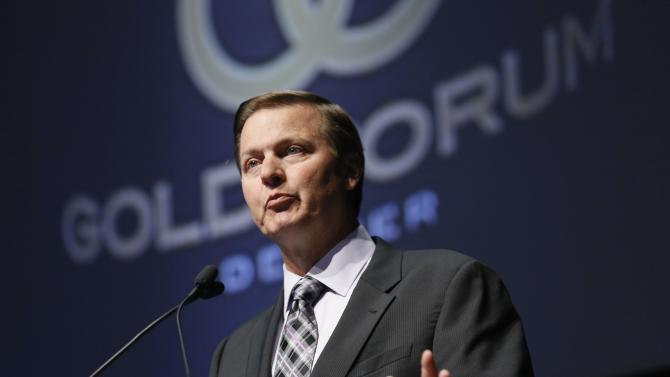 File photo of Gary Goldberg, CEO of Newmont Mining Corp, speaking at Denver Gold Forum industry conference in Denver