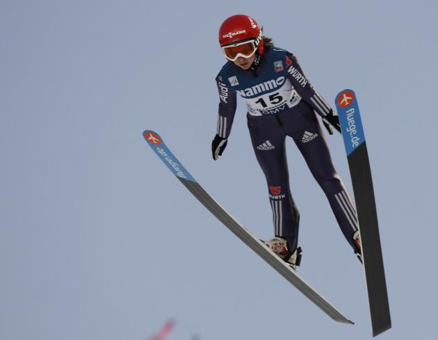 Gianina Ernst of Germany competes during the FIS World Cup ski jumping in Lillehammer