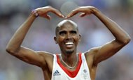 Britain's Mohamed Farah celebrates after winning the men's 5000m final at the athletics event of the London 2012 Olympic Games. Farah timed his trademark kick from 600 metres to perfection to win the men's 5000m to clinch a popular home Olympic double after having already triumphed in the 10,000m