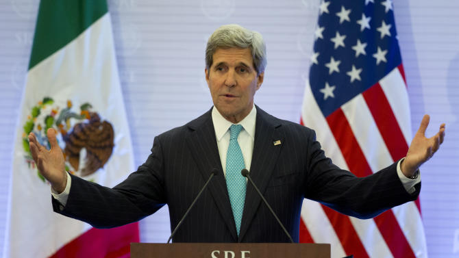 Secretary of State John Kerry responds to a question during a joint press conference with Mexican Secretary of Foreign Affairs Jose Antonio Meade, in Mexico City, Wednesday, May 21, 2014. Kerry was visiting Mexico Wednesday to reinforce bilateral relations with its neighbor to the South. (AP Photo/Rebecca Blackwell)