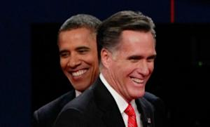 President Obama and GOP nominee Mitt Romney share a laugh during the first presidential debate on Oct. 3: Of course, there weren't many laughs during the testy debate.