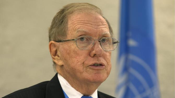 Michael Kirby, Chairperson of the Commission of Inquiry on Human Rights in North Korea, delivers his report during the 24th session f the Human Rights Council, at the European headquarters of the United Nations in Geneva, Switzerland, Tuesday, Sept. 17, 2013. (AP Photo/Keystone,Salvatore Di Nolfi)