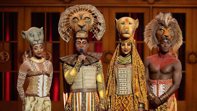 Cast members from 'The Lion King' speak onstage at the 67th Annual Tony Awards at Radio City Music Hall in New York, June 9, 2013
