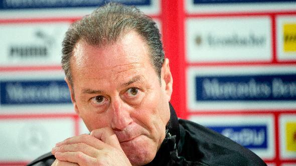 New head coach of German Bundesliga soccer club VfB Stuttgart, Dutch  Huub Stevens,  attends a press conference in Stuttgart, Germany, Monday March 10, 2014. VfB Stuttgart had fired  coach Thomas Schneider over the weekend  and appointed former Schalke coach Huub Stevens in his place.  Saturday's 2-2 draw at home with bottom side Eintracht Braunschweig was not enough to save Schneider after a run of eight successive Bundesliga defeats