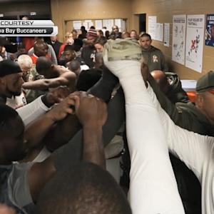 Buccaneers celebrate win over the Redskins