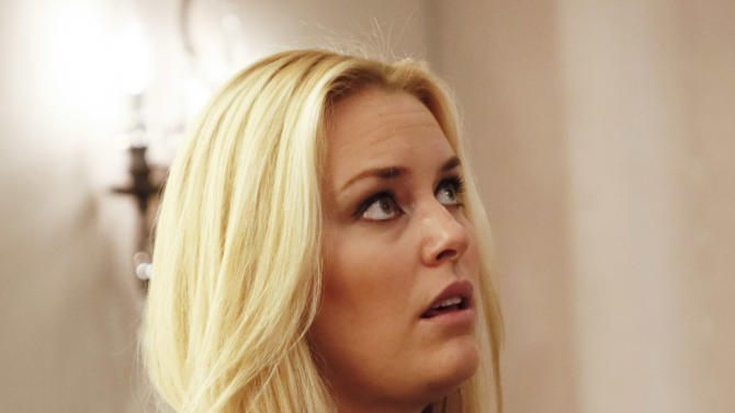 Lindsey Vonn, of the United States, reacts during a press conference for the women's World Cup ski races in Aspen, Colo. on Friday, Nov. 23, 2012.  (AP Photo/Nathan Bilow)
