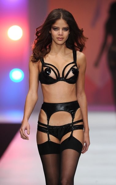 Model on the Lingerie London catwalk © Rex