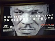 A poster of former boxing champion Mike Tyson is seen at the Hollywood Theatre in Las Vegas, ahead of the the first night of his one-man show entitled &#39;Mike Tyson Live On Stage, Undisputed Truth&#39;. The former heavyweight world champion, infamous for ear-biting and a rape conviction before mounting a showbiz-tinged comeback in recent years, will play six nights in Vegas this week