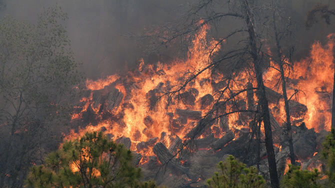 This photo provided by Texas Parks and Wildlife shows a fire burning in Bastrop State Park in Bastrop, Texas. More than 1,000 homes have been destroyed in at least 57 wildfires across rain-starved Texas, most of them in one devastating blaze near Austin that is still raging out of control, officials said Tuesday. (AP Photo/Texas Parks and Wildlife Foundation, Chase A. Fountain)