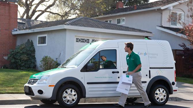 This undated photo provided by Google shows a Google Shopping express van. Internet search leader Google is taking another step beyond information retrieval into grocery delivery. The new service, called Google Shopping Express, will initially provide same-day delivery of food and other products bought online by a small group of consumers in San Francisco and suburbs located south of the city. (AP Photo/Google)