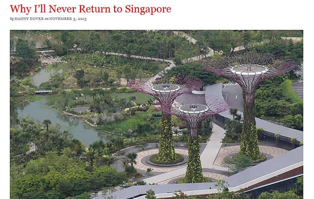 "A young author and online marketer declared in a blog post that has gone viral that he had no plans to return to Singapore where life was ""sterile"" and ""the bare minimum of living"". (Online Screengrab)"
