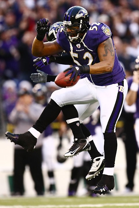 BALTIMORE - DECEMBER 28: Ray Lewis #52 of the Baltimore Ravens celebrates recovering the ball against the Jacksonville Jaguars during the game on December 28, 2008 at M&T Bank Stadium in Baltimore, Ma