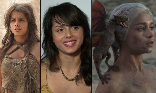 Amrita Acharia as Irri; Amrita in her Access Hollywood interview; Emilia Clarke as Daenerys in &#39;Game of Thrones&#39; -- Paul Schiraldi/HBO/Access Hollywood