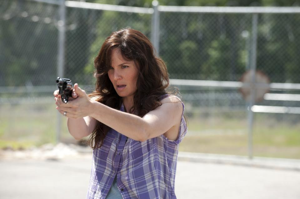 "This undated publicity photo released by AMC shows Sarah Wayne Callies as Lori Grimes in a scene from AMC's TV show, ""The Walking Dead,"" Season 3, Episode 4. The show airs Sundays at 9 p.m. EST on AMC. (AP Photo/AMC, Gene Page)"