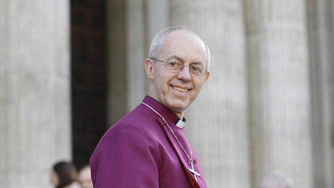 The Bishop of Durham  Justin Welby arrives for a ceremony to become the 105th Archbishop of Canterbury , spiritual leader of the Anglican Communion, outside St Paul's Cathedral in London, Monday, Feb. 4, 2013. The ceremony forms part of the legal process for appointing a new Archbishop ofCanterbury and will be followed by Bishop Welby's enthronement at Canterbury Cathedral next month (AP Photo/Alastair Grant)