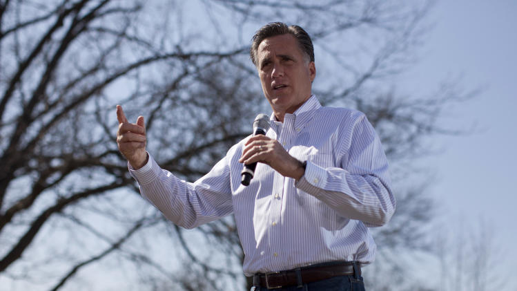 Republican presidential candidate, former Massachusetts Gov. Mitt Romney speaks in St. Louis, Mo., Tuesday, March 13, 2012.  (AP Photo/Evan Vucci)