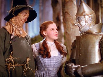 The Scarecrow ( Ray Bolger ), Dorothy ( Judy Garland ) and the Tin Man ( Jack Haley ) in Warner Home Entertainment's DVD release of The Wizard of Oz