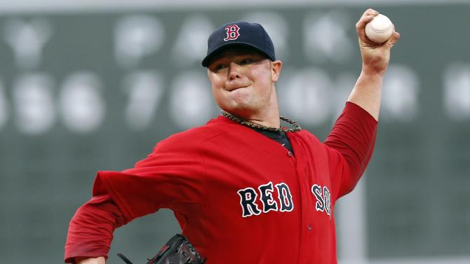 Boston Red Sox's Jon Lester pitches in the first inning of a baseball game against the Toronto Blue Jays in Boston, Friday, May 10, 2013. (AP Photo/Michael Dwyer)