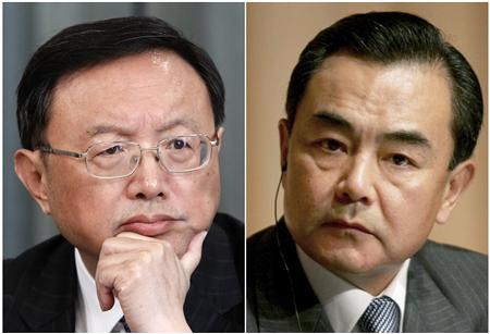 A combination of two file photos shows then China's Foreign Minister Yang Jiechi (L) in Moscow February 22, 2013, and Wang Yi, then Ambassador Extraordinary and China's representative to Japan, in Tokyo May 25, 2006. REUTERS/Maxim Shemetov (L) and Stringer/Files