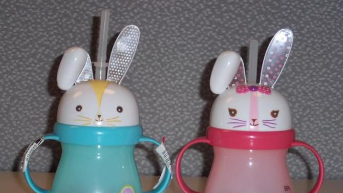 This undated photo provided by the U.S. Consumer Product Safety Commission released on April 26, 2012, shows Target Home Bunny Sippy Cups. These cute, but potentially dangerous 'sippy' cups, are among some of the consumer products recalled this week. (AP Photo/U.S. Consumer Product Safety Commission)