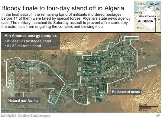 Updates with information on the end of the crisis; map locates Ain Amenas energy and residential complex, where hostages were taken and killed
