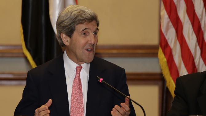 U.S. Secretary of State John Kerry gives a statement to the media at the start of a meeting with business leaders in Cairo, Egypt on Saturday, March 2, 2013. Cairo is the sixth leg of Kerry's first official overseas trip and begins the Middle East portion of his nine-day journey. (AP Photo/Jacquelyn Martin, Pool)