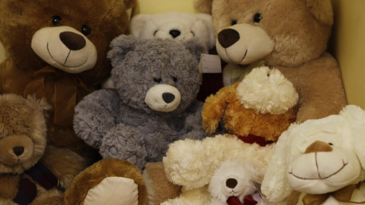 Soft toys are stacked in a room at the Teddy Bear Clinic, where abused children are treated, in Johannesburg, Friday, Feb. 8, 2013. In a country where one in four women are raped and where months-old babies and 94-year-old grandmothers are sexually assaulted, citizens are demanding action after a teenager was gang-raped, sliced open from her stomach to her genitals, and left for dead on a construction site last week. (AP Photo/Denis Farrell)