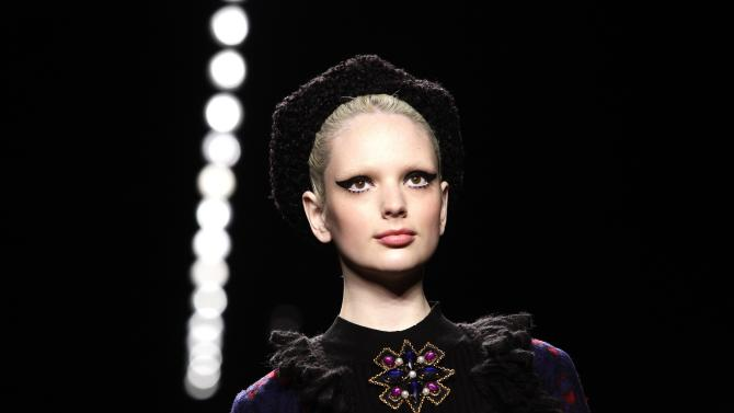 A model presents a creation from the Anna Sui Autumn/Winter 2013 collection during New York Fashion Week