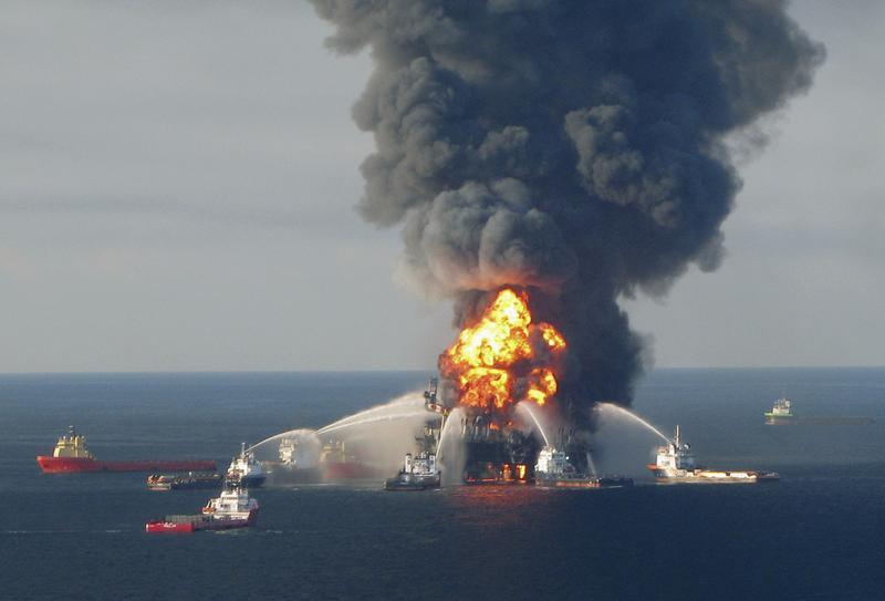 Fire boat response crews battling the blazing remants of the offshore oil rig Deepwater Horizon off Louisiana.