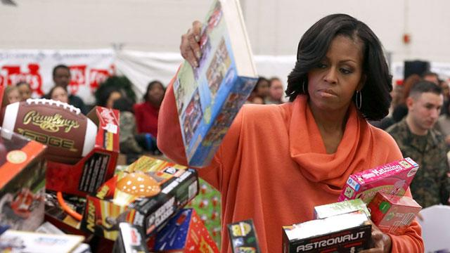 First Lady Collects Toys for Tots With Marines