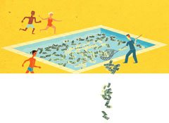 Illustration of money in a pool