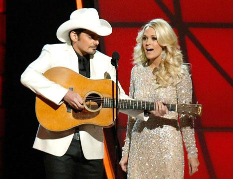 Carrie Underwood, Brad Paisley Mock Taylor Swift's Breakup With Conor Kennedy at Country Music Association Awards