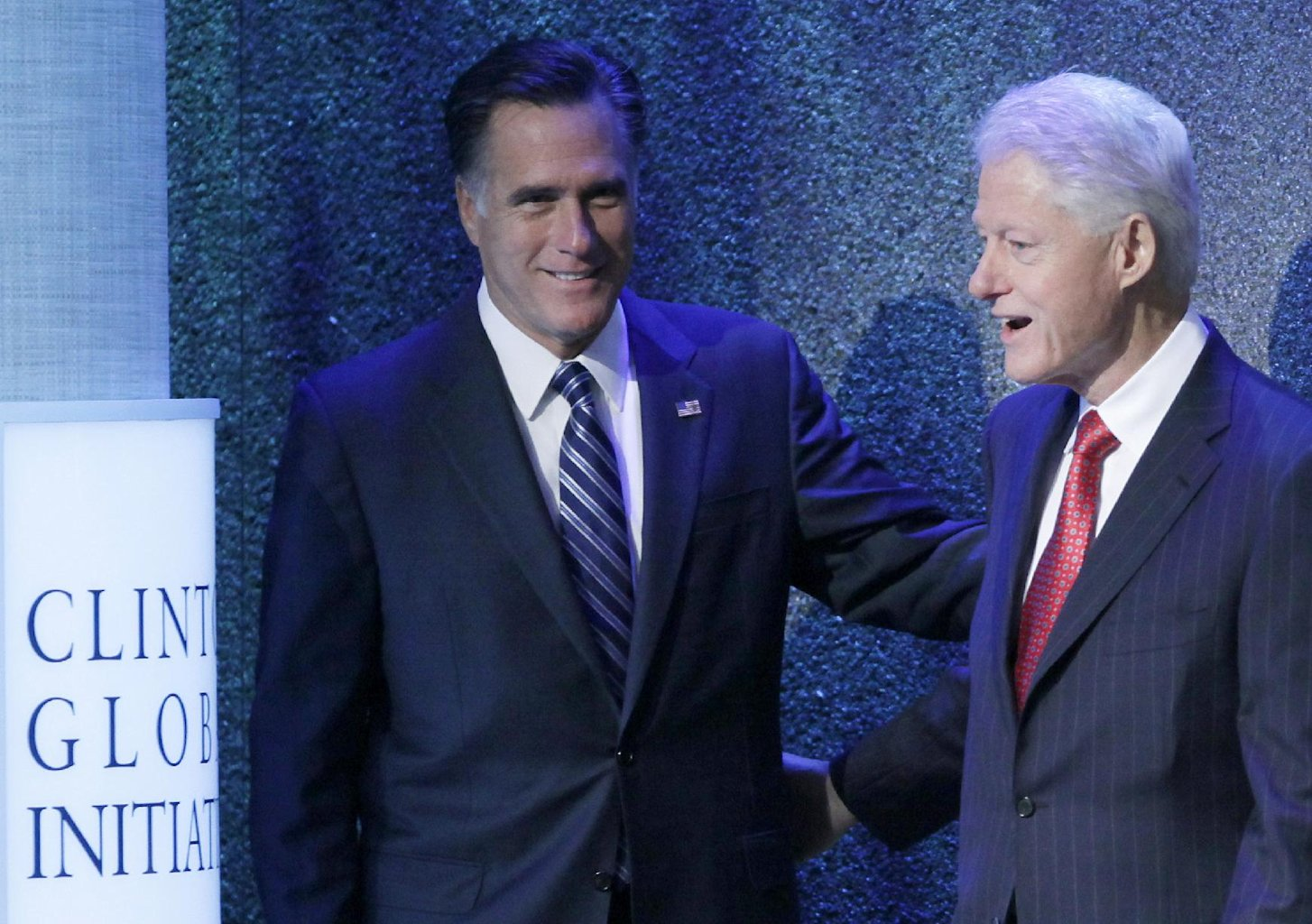 Republican presidential candidate, former Massachusetts Gov. Mitt Romney is introduced by former President Bill Clinton at the Clinton Global Initiative, Tuesday, Sept. 25, 2012, in New York.