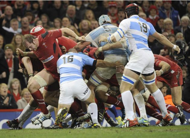 Wales' Alun Wyn Jones drags the Welsh pack over the touchline for a try against Argentina during their international rugby union match at the Millennium Stadium in Cardiff