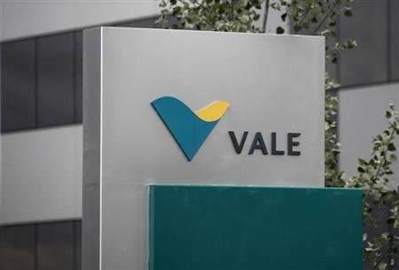 Vale's logo is pictured outside their central sales office in Saint-Prex near Geneva
