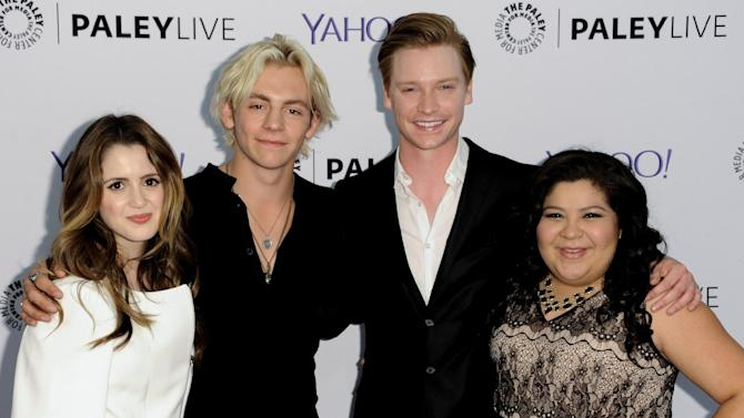 "Laura Marano, left, Ross Lynch, second left, Calum Worthy, second right, and Raini Rodriguez arrive at Paley Center For Media Presents Family Night With ""Austin & Ally"" on Monday, May 4, 2015, in Beverly Hills, Calif. (Photo by Richard Shotwell/Invision/AP)"