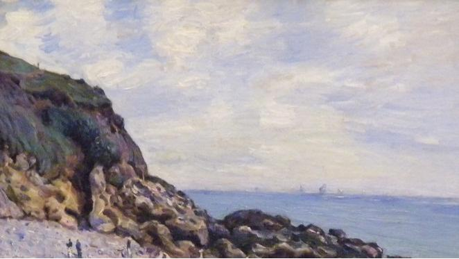 """In this photo provided by the United States Attorney's Office in New York, shows an 1887 painting by Alfred Sisley entitled """"Langland Bay.""""   Vilma Bautista, one time secretary to Philippine's first lady Imelda Marcos, was indicted in New York, Tuesday, Nov. 20, 2012, on charges of conspiracy, tax fraud and offering a false instrument for filing for attempting to illegally sell this work and others that disappeared as Ferdinand Marco's regime collapsed in the late 1980's. (AP Photo/United States Attorney's Office)"""