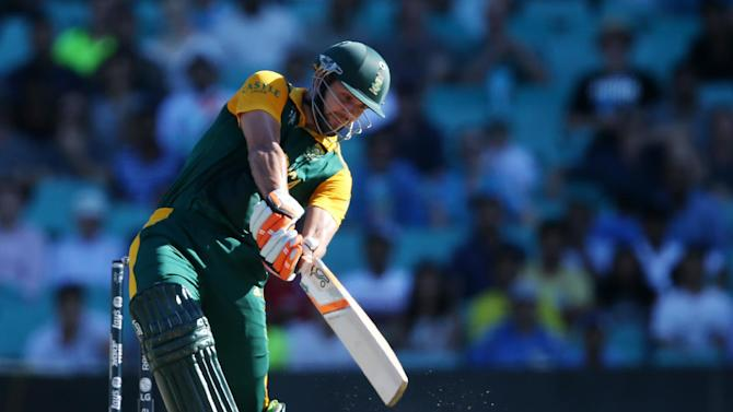 South Africa's Rilee Rossouw hist the ball during their Cricket World Cup Pool B match against the West Indies in Sydney, Australia, Friday, Feb. 27, 2015. (AP Photo/Rick Rycroft)
