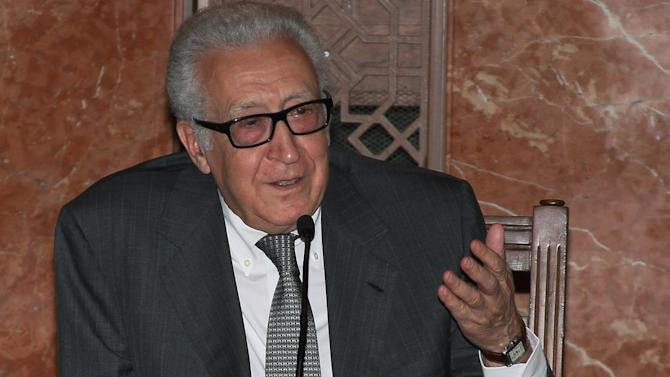 UN-Arab League envoy to Syria Lakhdar Brahimi speaks in a press conference in Damascus, Syria, Friday, Nov. 1, 2013. Brahimi urged during his days-long visit to Damascus that both the Syrian government and the opposition attend a planned peace conference in Geneva. (AP Photo)