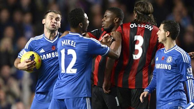 Chelsea and West bromwich Albion scuffle after Eden hazard's stoppage-time penalty (REUTERS)