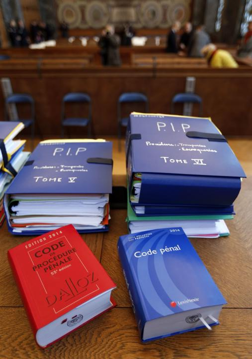 Files for the PIP implant trial are pictured inside the courtroom in Marseille