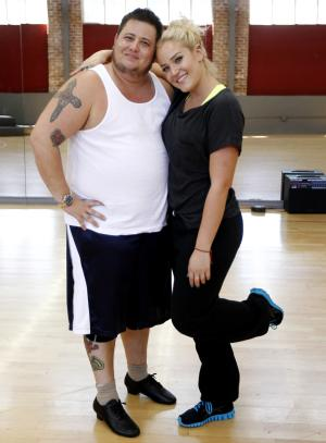 "In this Sept. 7, 2011 photo, Chaz Bono, left, and his dance partner Lacey Schwimmer pose during their rehearsal for the upcoming season of ""Dancing of the Stars"" in Los Angeles. The new season of ""Dancing with the Stars"" premieres Monday, Sept. 19 on ABC. (AP Photo/Matt Sayles)"