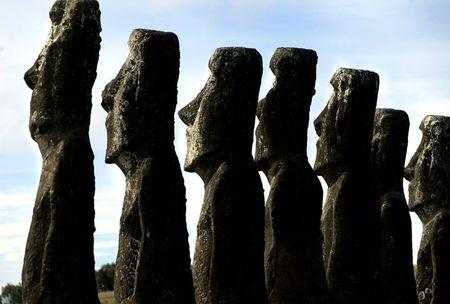 """File photo of a view of """"Moai"""" statues in Ahu Akivi, on Easter Island, 4,000 km (2486 miles) west of Santiago"""