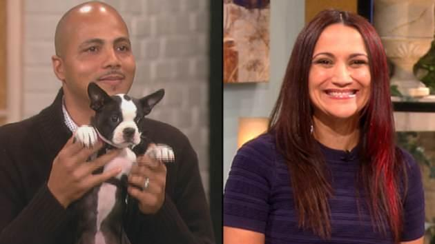 DJ Eric 'Stretch Boogie' Rivera with the puppy, Robin, and Auti Angel -- Access Hollywood