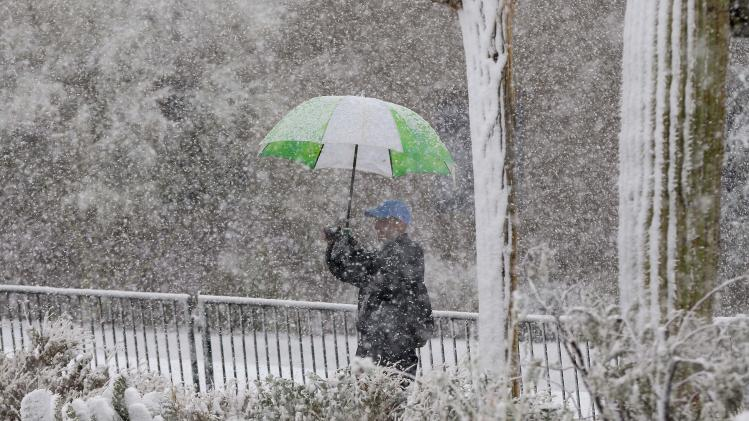 A golf fan takes a photo of the 18th green as snow falls during the Match Play Championship golf tournament, Wednesday, Feb. 20, 2013, in Marana, Ariz. Play was suspended for the day. (AP Photo/Julie Jacobson)