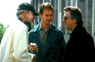 Director Frank Oz , Edward Norton and Robert De Niro on the set of Paramount's The Score