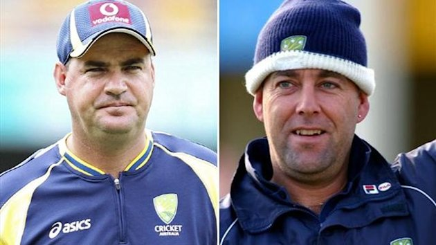Mickey Arthur and his successor as Australia coach Darren Lehmann (Reuters)
