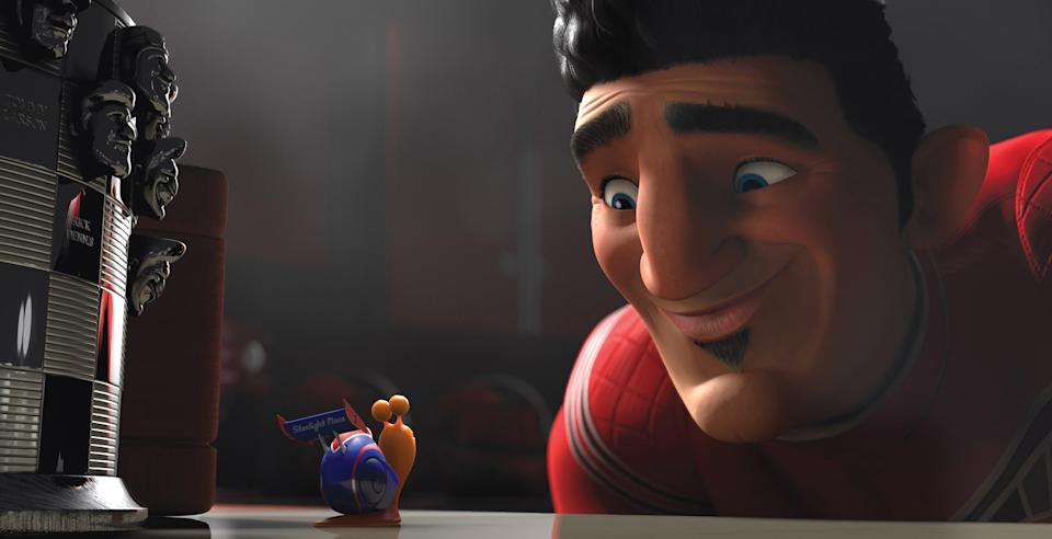 "This film publicity image released by DreamWorks Animation shows Turbo, voiced by Ryan Reynolds, left, Guy Gagné, voiced by Bill Hader, in a scene from the animated movie ""Turbo."" (AP Photo/DreamWorks Animation)"