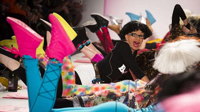 The Betsey Johnson Fall 2013 collection is modeled during Fashion Week in New York, Monday, Feb. 11, 2013. (AP Photo/John Minchillo)